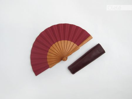 Small fan - Plain Burgundy - 19 cm - 7.5""