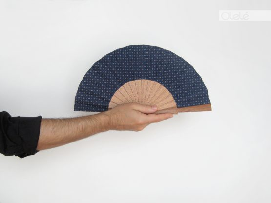 small blue hand fan
