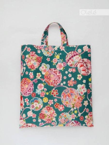 Japanese fabric tote bag - Green pink #01