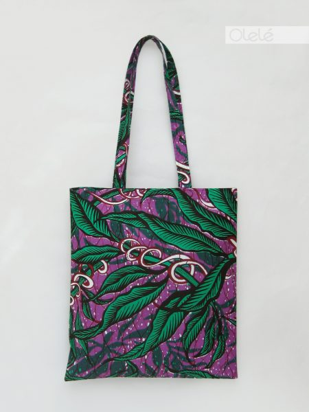 African fabric tote bag - Purple #02