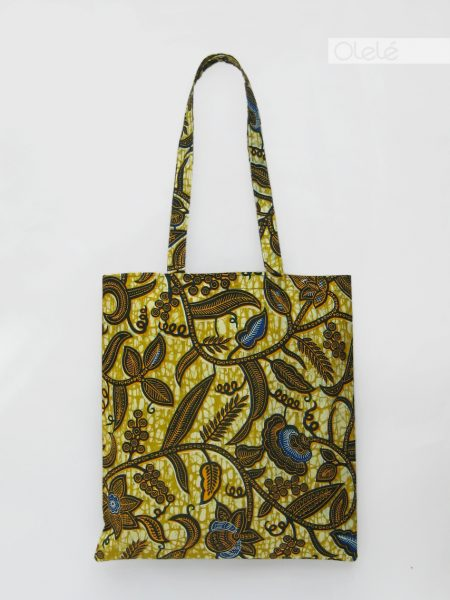 Wax print tote bag - Olive green #03