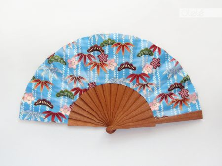 Sasanoha - Blue - Japanese print hand fan